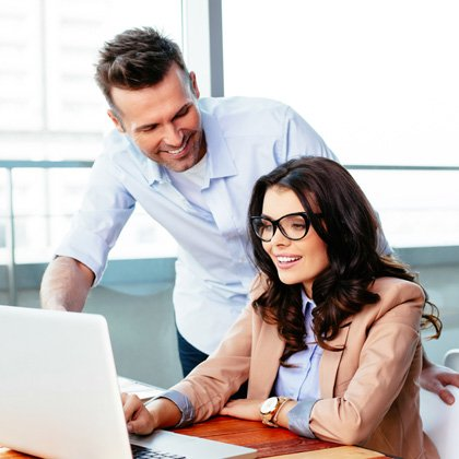 man and woman online learning