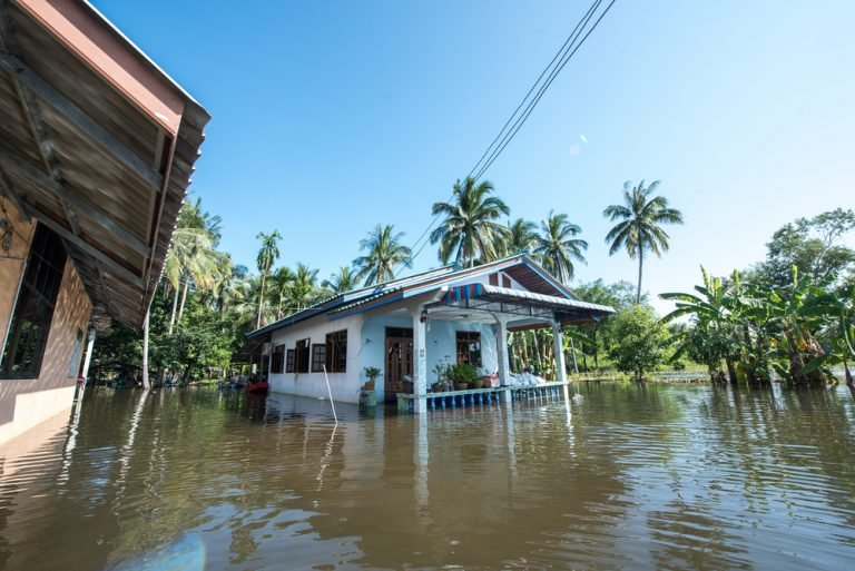 house in flood water